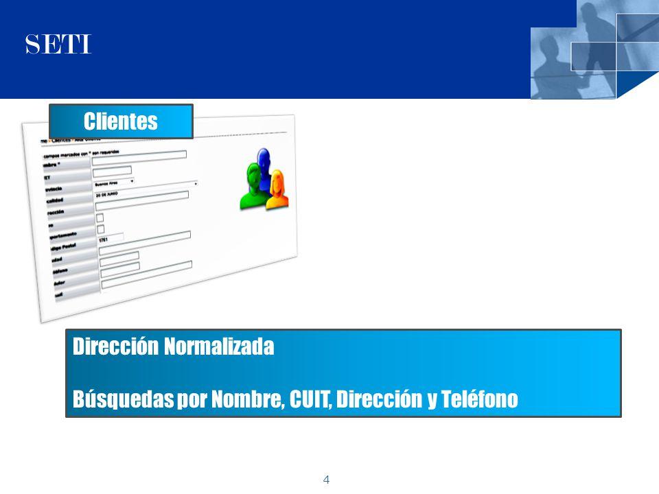 4 SETI Clientes Dirección Normalizada Búsquedas por Nombre, CUIT, Dirección y Teléfono