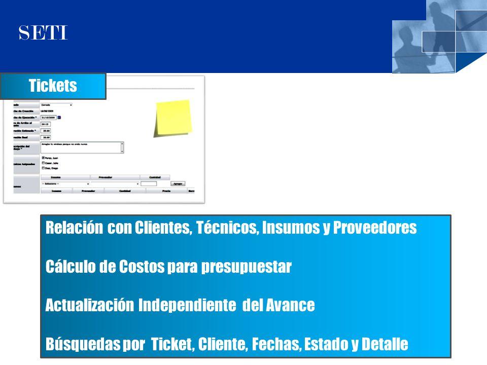 7 SETI Tickets Relación con Clientes, Técnicos, Insumos y Proveedores Cálculo de Costos para presupuestar Actualización Independiente del Avance Búsquedas por Ticket, Cliente, Fechas, Estado y Detalle