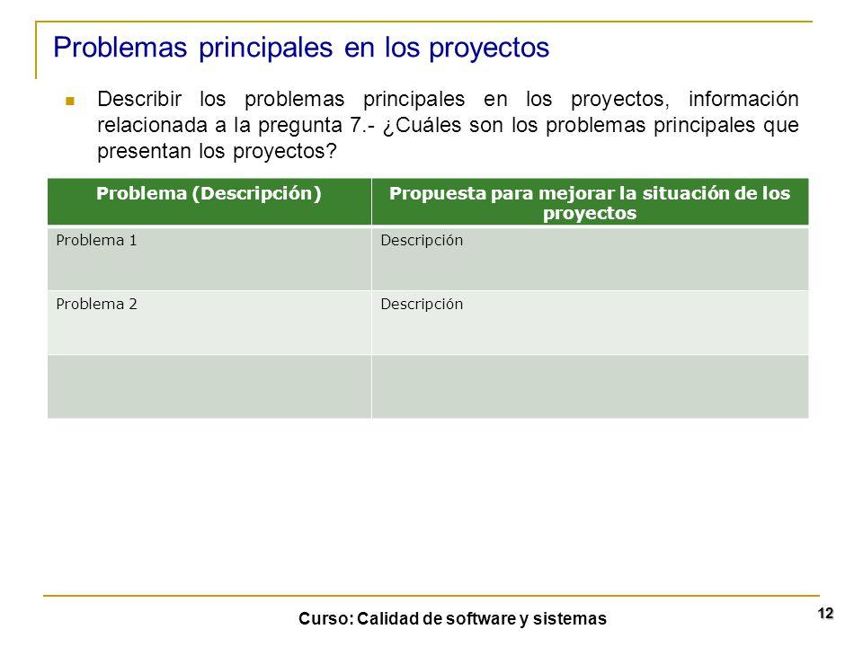 Curso: Calidad de software y sistemas 12 Describir los problemas principales en los proyectos, información relacionada a la pregunta 7.- ¿Cuáles son l