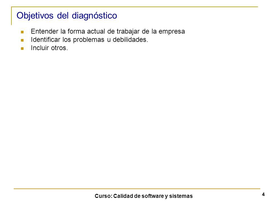 Curso: Calidad de software y sistemas 4 Objetivos del diagnóstico Entender la forma actual de trabajar de la empresa Identificar los problemas u debil