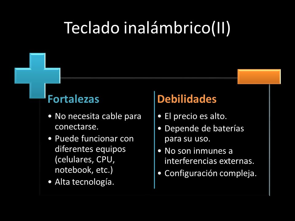 Teclado inalámbrico(II) Fortalezas No necesita cable para conectarse. Puede funcionar con diferentes equipos (celulares, CPU, notebook, etc.) Alta tec