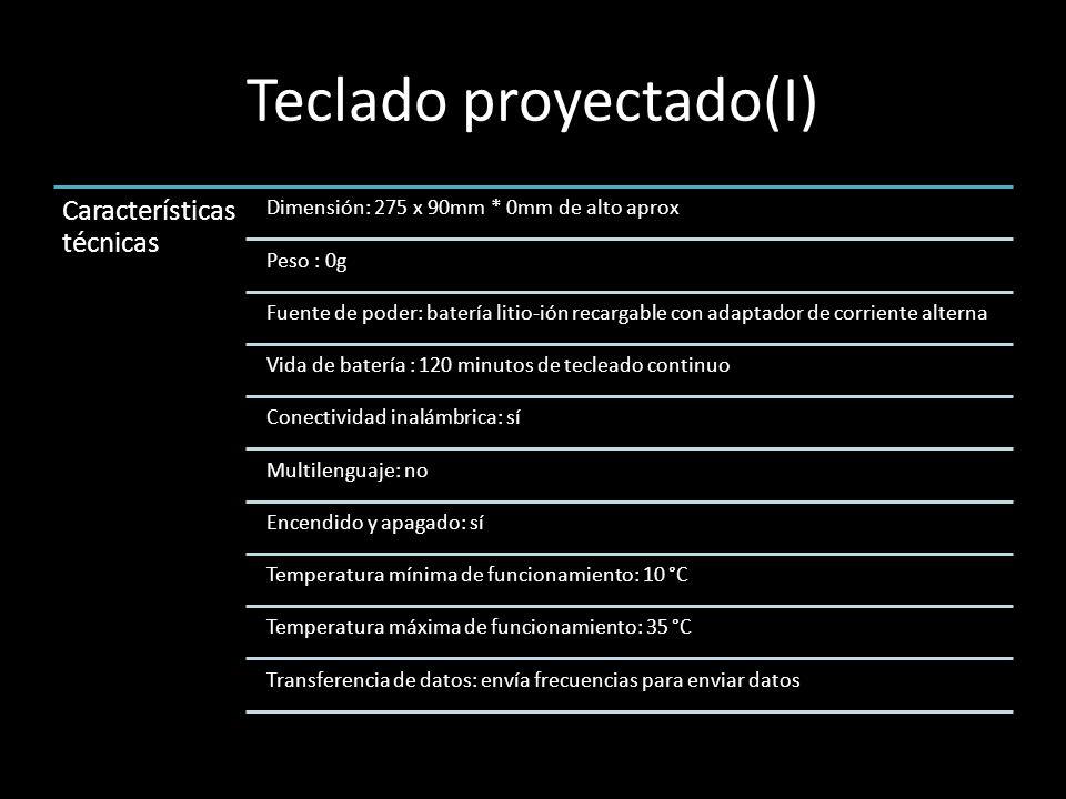 Teclado proyectado(I) Característica s técnicas Dimensión: 275 x 90mm * 0mm de alto aprox Peso : 0g Fuente de poder: batería litio-ión recargable con adaptador de corriente alterna Vida de batería : 120 minutos de tecleado continuo Conectividad inalámbrica: sí Multilenguaje: no Encendido y apagado: sí Temperatura mínima de funcionamiento: 10 °C Temperatura máxima de funcionamiento: 35 °C Transferencia de datos: envía frecuencias para enviar datos