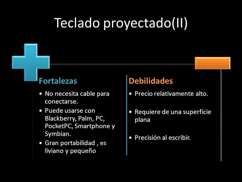 Teclado proyectado(II) Fortalezas No necesita cable para conectarse. Puede usarse con Blackberry, Palm, PC, PocketPC, Smartphone y Symbian. Gran porta