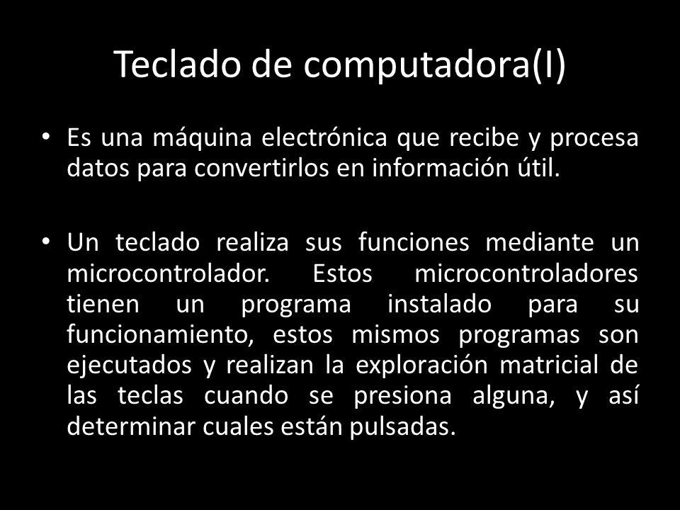 Teclado de computadora(I) Es una máquina electrónica que recibe y procesa datos para convertirlos en información útil. Un teclado realiza sus funcione