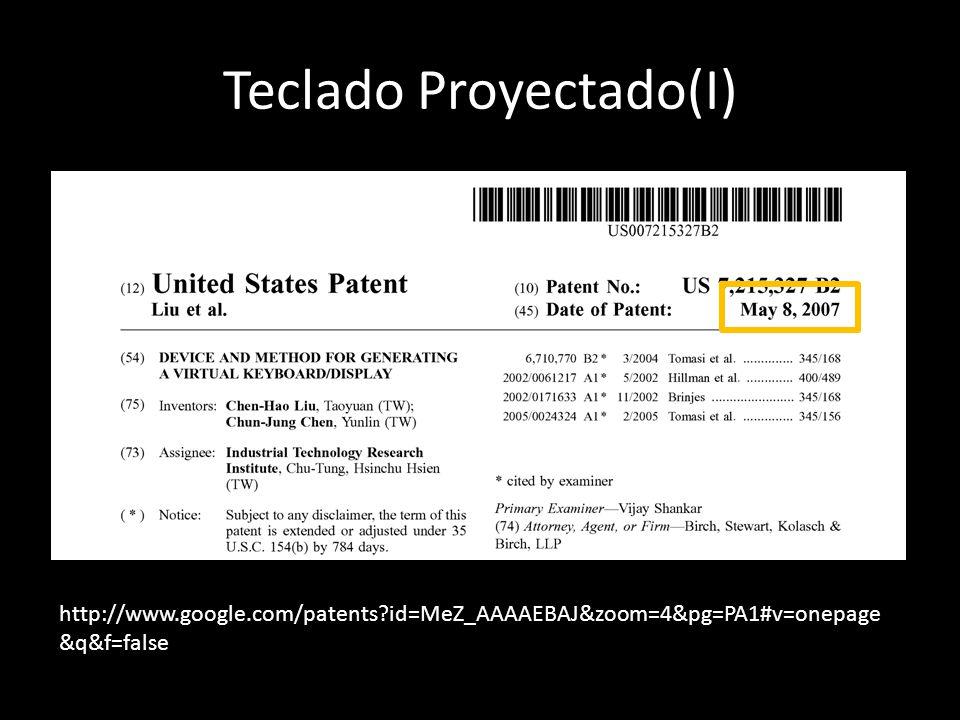 Teclado Proyectado(I) http://www.google.com/patents?id=MeZ_AAAAEBAJ&zoom=4&pg=PA1#v=onepage &q&f=false