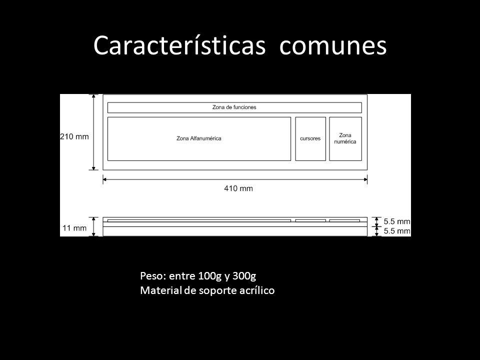 Características comunes Peso: entre 100g y 300g Material de soporte acrílico