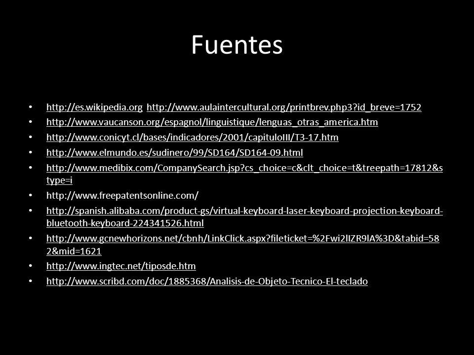 Fuentes http://es.wikipedia.org http://www.aulaintercultural.org/printbrev.php3?id_breve=1752 http://www.vaucanson.org/espagnol/linguistique/lenguas_otras_america.htm http://www.conicyt.cl/bases/indicadores/2001/capituloIII/T3-17.htm http://www.elmundo.es/sudinero/99/SD164/SD164-09.html http://www.medibix.com/CompanySearch.jsp?cs_choice=c&clt_choice=t&treepath=17812&s type=i http://www.freepatentsonline.com/ http://spanish.alibaba.com/product-gs/virtual-keyboard-laser-keyboard-projection-keyboard- bluetooth-keyboard-224341526.html http://www.gcnewhorizons.net/cbnh/LinkClick.aspx?fileticket=%2Fwi2lIZR9lA%3D&tabid=58 2&mid=1621 http://www.ingtec.net/tiposde.htm http://www.scribd.com/doc/1885368/Analisis-de-Objeto-Tecnico-El-teclado