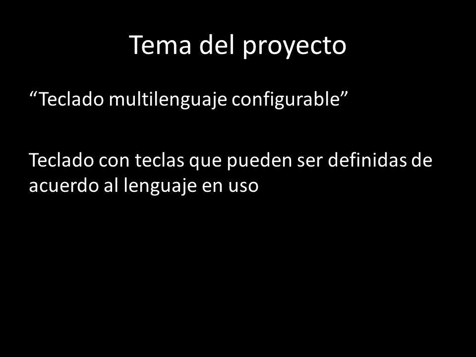 Tema del proyecto Teclado multilenguaje configurable Teclado con teclas que pueden ser definidas de acuerdo al lenguaje en uso