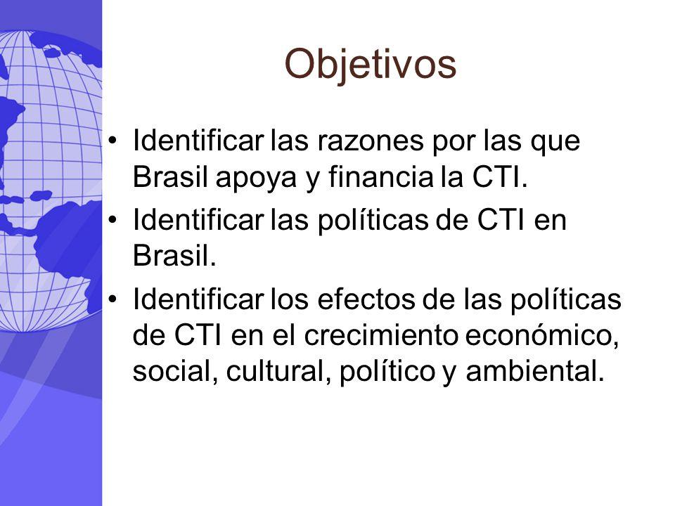 Objetivos Identificar las razones por las que Brasil apoya y financia la CTI. Identificar las políticas de CTI en Brasil. Identificar los efectos de l