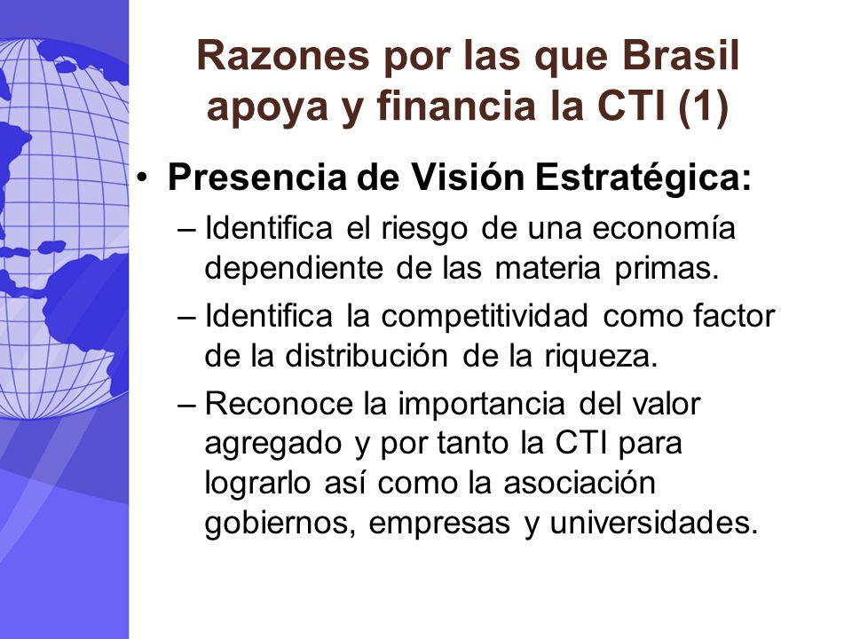 Razones por las que Brasil apoya y financia la CTI (1) Presencia de Visión Estratégica: –Identifica el riesgo de una economía dependiente de las materia primas.
