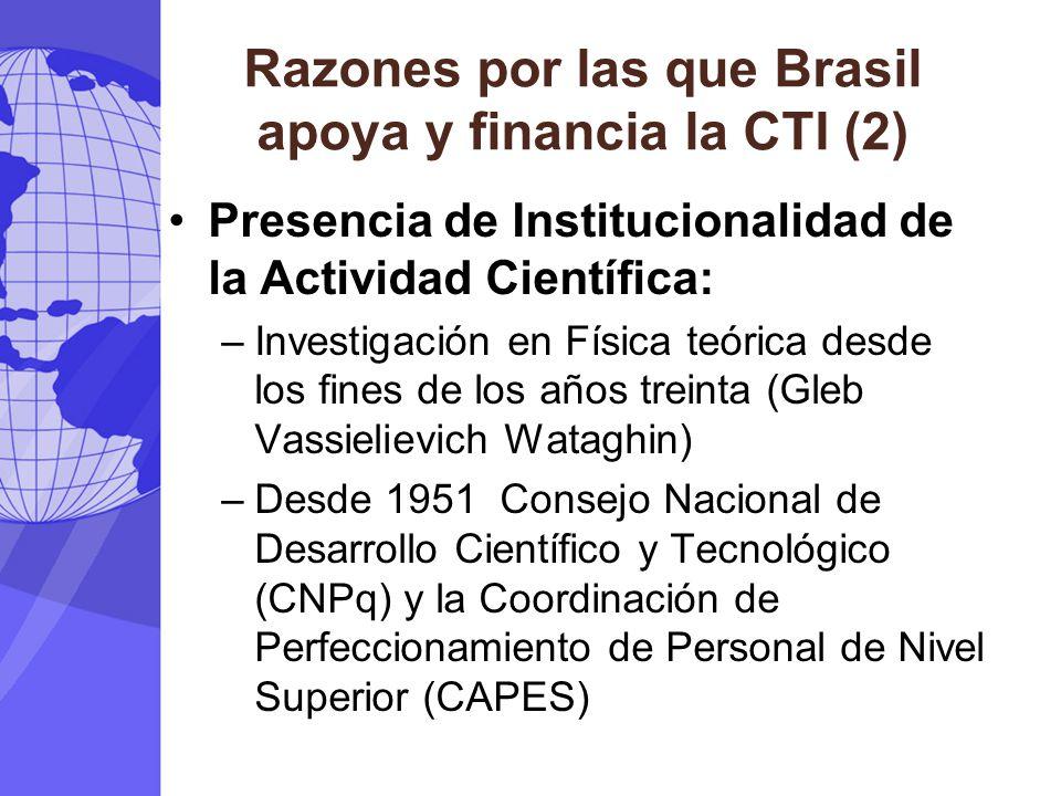 Razones por las que Brasil apoya y financia la CTI (2) Presencia de Institucionalidad de la Actividad Científica: –Investigación en Física teórica des