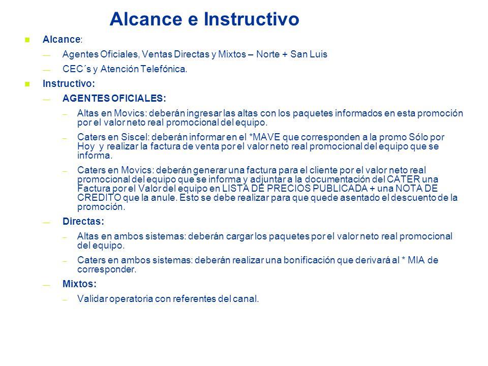 Alcance e Instructivo Alcance: Agentes Oficiales, Ventas Directas y Mixtos – Norte + San Luis CEC´s y Atención Telefónica. Instructivo: AGENTES OFICIA