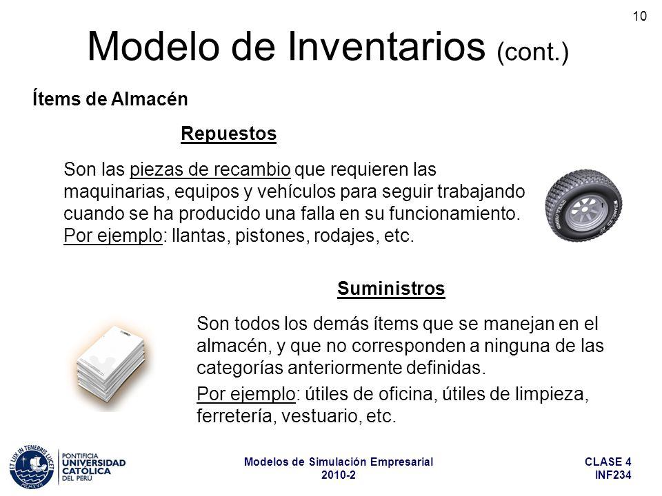 CLASE 4 INF234 Modelos de Simulación Empresarial 2010-2 10 Son las piezas de recambio que requieren las maquinarias, equipos y vehículos para seguir t