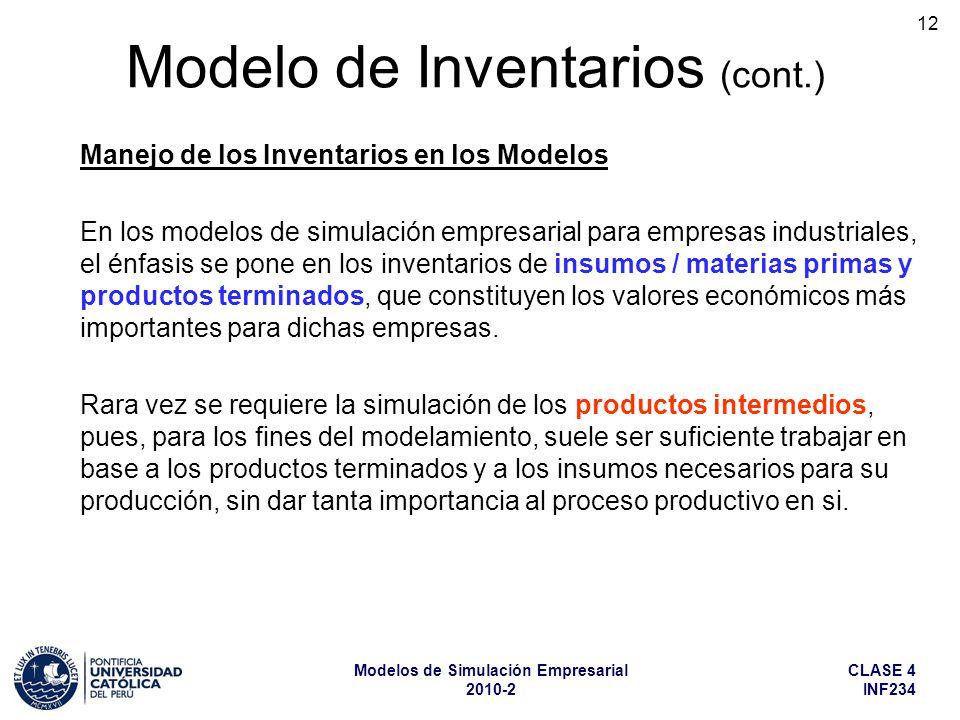 CLASE 4 INF234 Modelos de Simulación Empresarial 2010-2 12 Manejo de los Inventarios en los Modelos En los modelos de simulación empresarial para empr