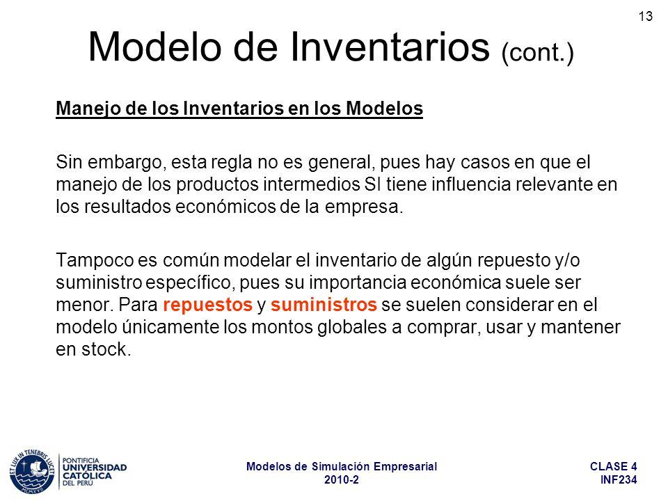 CLASE 4 INF234 Modelos de Simulación Empresarial 2010-2 13 Manejo de los Inventarios en los Modelos Sin embargo, esta regla no es general, pues hay ca