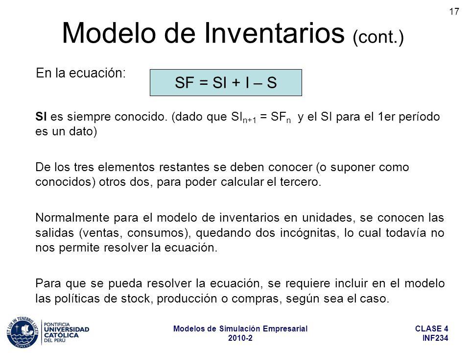CLASE 4 INF234 Modelos de Simulación Empresarial 2010-2 17 SI es siempre conocido. (dado que SI n+1 = SF n y el SI para el 1er período es un dato) De