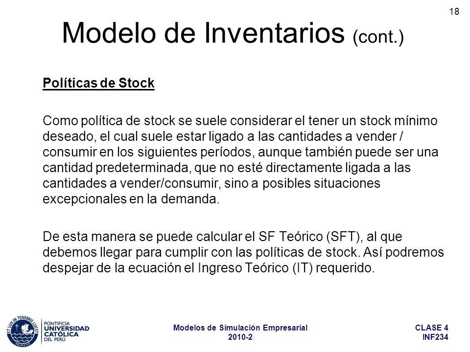 CLASE 4 INF234 Modelos de Simulación Empresarial 2010-2 18 Políticas de Stock Como política de stock se suele considerar el tener un stock mínimo dese