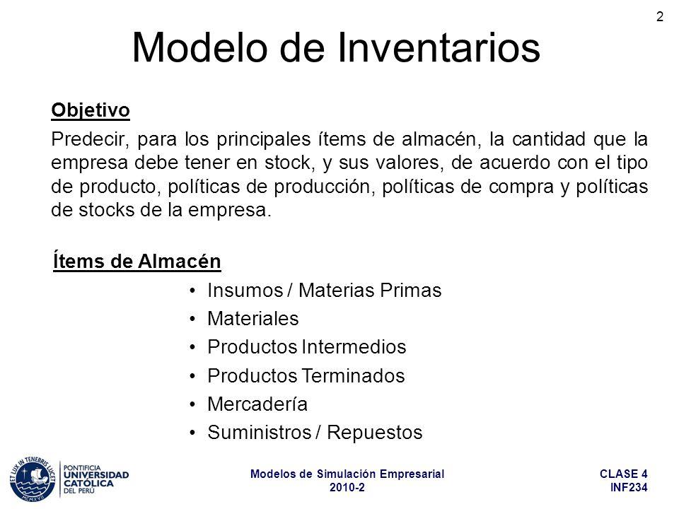 CLASE 4 INF234 Modelos de Simulación Empresarial 2010-2 3 Modelo de Inventarios (cont.) Ítems de Almacén Se consumen en el proceso productivo y forman parte, mediante transformaciones físicas o químicas, de la parte activa del producto producido.