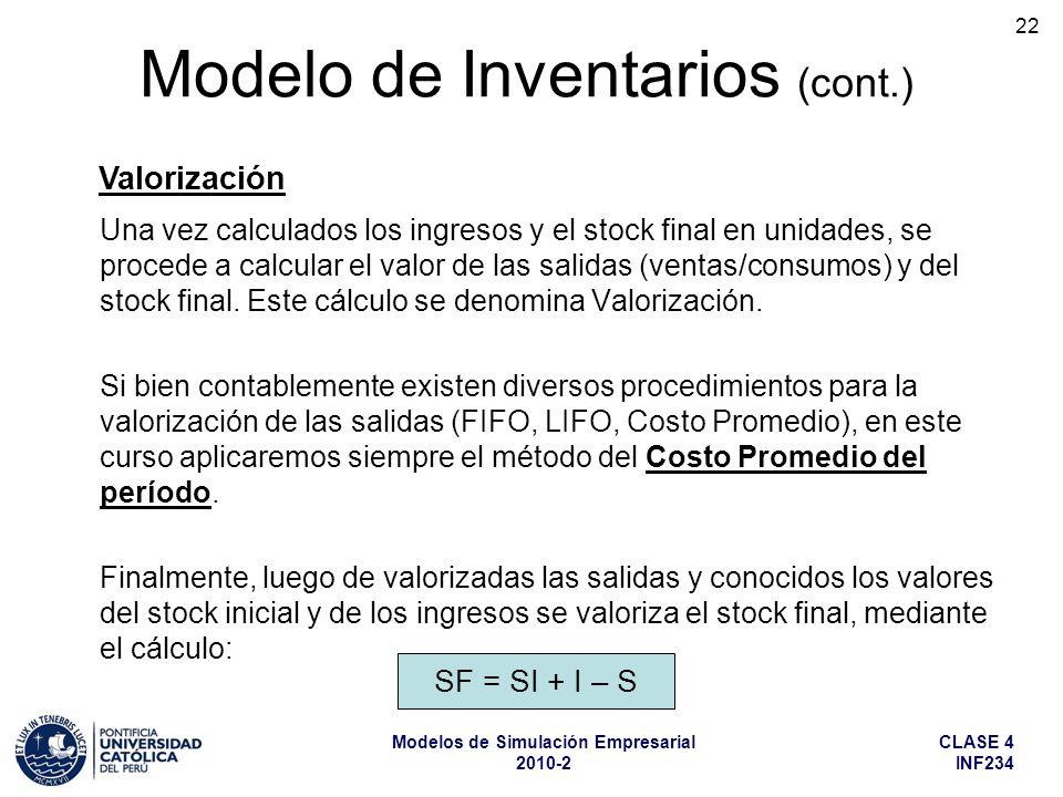 CLASE 4 INF234 Modelos de Simulación Empresarial 2010-2 22 Una vez calculados los ingresos y el stock final en unidades, se procede a calcular el valo