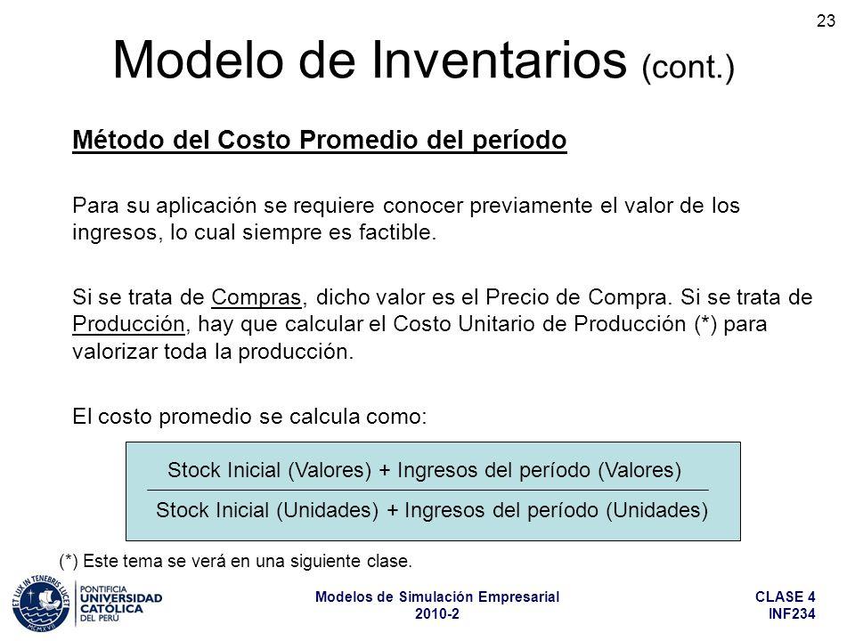 CLASE 4 INF234 Modelos de Simulación Empresarial 2010-2 23 Para su aplicación se requiere conocer previamente el valor de los ingresos, lo cual siempr