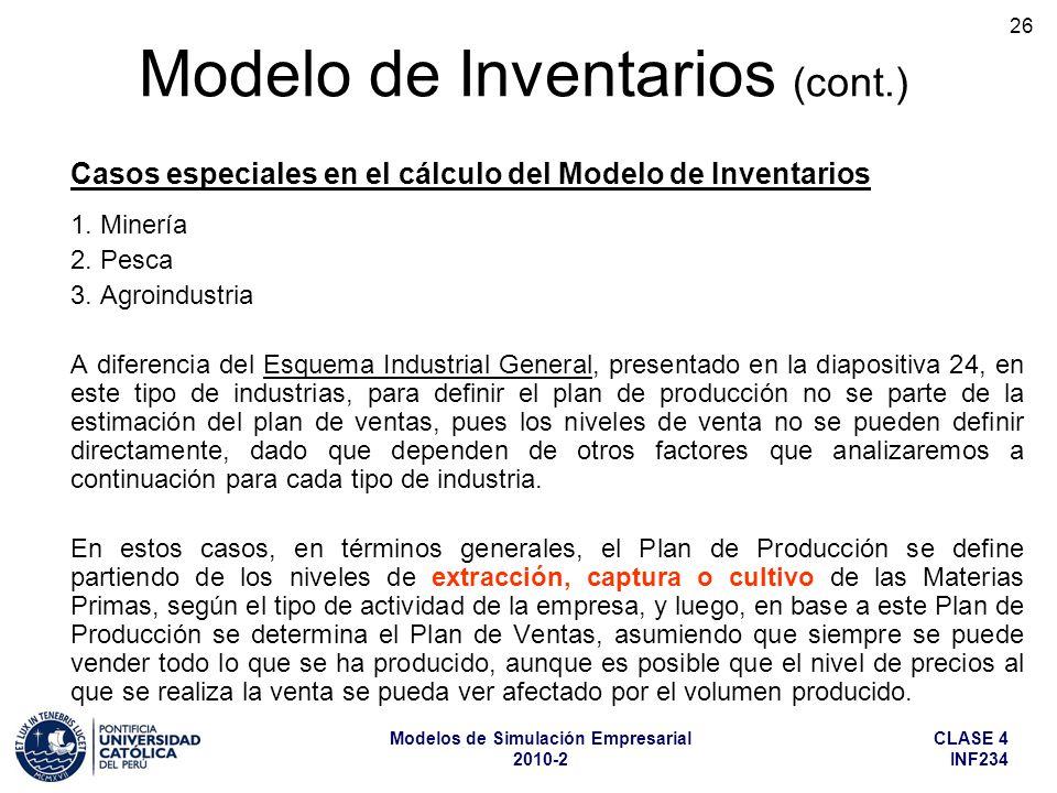 CLASE 4 INF234 Modelos de Simulación Empresarial 2010-2 26 1. Minería 2. Pesca 3. Agroindustria A diferencia del Esquema Industrial General, presentad