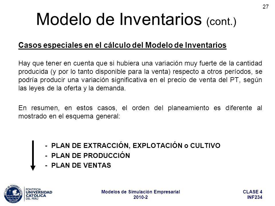 CLASE 4 INF234 Modelos de Simulación Empresarial 2010-2 27 Hay que tener en cuenta que si hubiera una variación muy fuerte de la cantidad producida (y