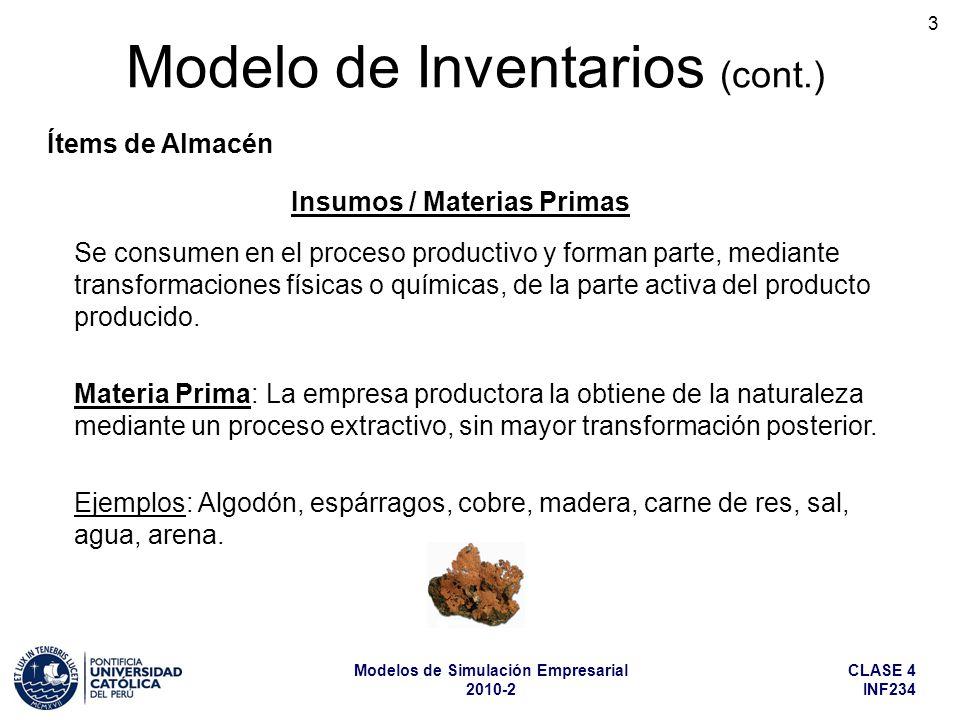 CLASE 4 INF234 Modelos de Simulación Empresarial 2010-2 3 Modelo de Inventarios (cont.) Ítems de Almacén Se consumen en el proceso productivo y forman