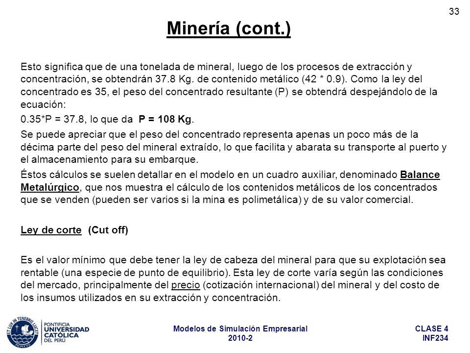CLASE 4 INF234 Modelos de Simulación Empresarial 2010-2 33 Esto significa que de una tonelada de mineral, luego de los procesos de extracción y concen