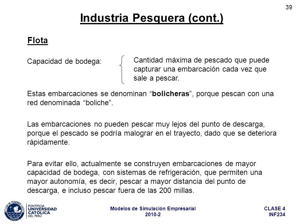 CLASE 4 INF234 Modelos de Simulación Empresarial 2010-2 39 Capacidad de bodega: Estas embarcaciones se denominan bolicheras, porque pescan con una red