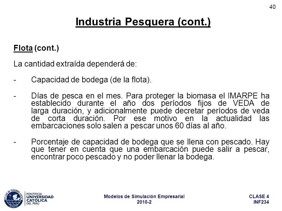 CLASE 4 INF234 Modelos de Simulación Empresarial 2010-2 40 Flota (cont.) La cantidad extraída dependerá de: -Capacidad de bodega (de la flota). - Días