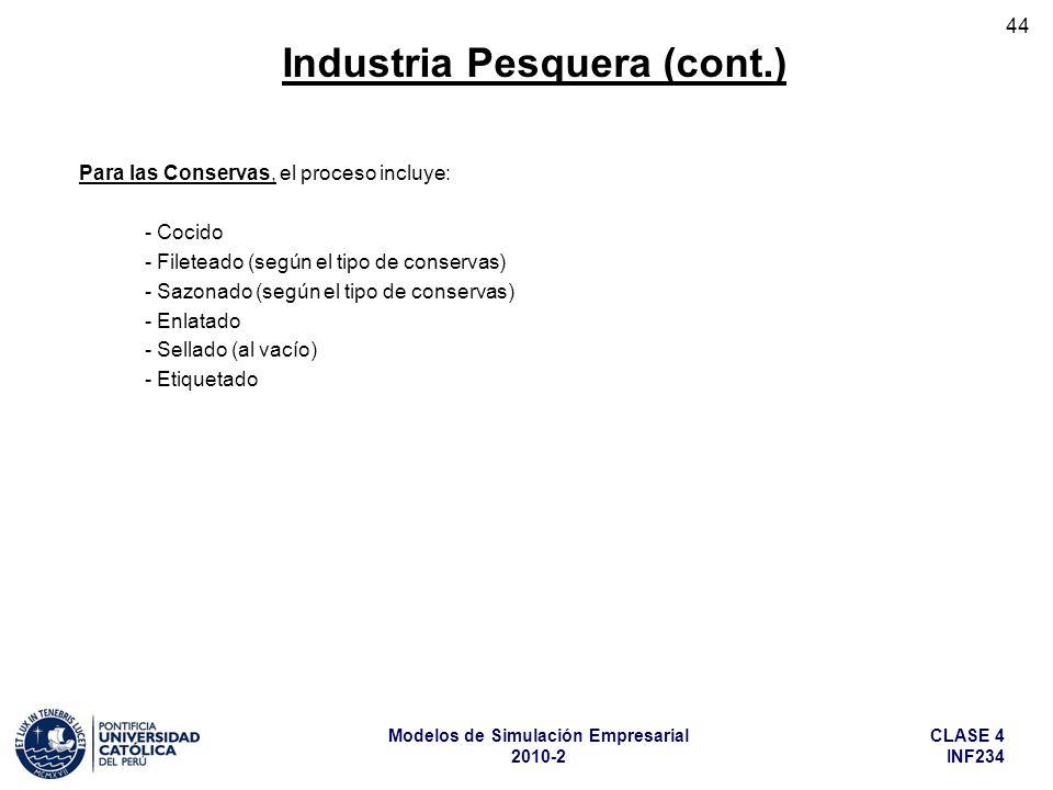 CLASE 4 INF234 Modelos de Simulación Empresarial 2010-2 44 Para las Conservas, el proceso incluye: - Cocido - Fileteado (según el tipo de conservas) -