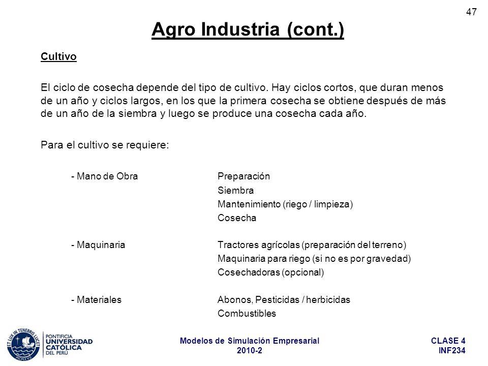 CLASE 4 INF234 Modelos de Simulación Empresarial 2010-2 47 Cultivo El ciclo de cosecha depende del tipo de cultivo. Hay ciclos cortos, que duran menos