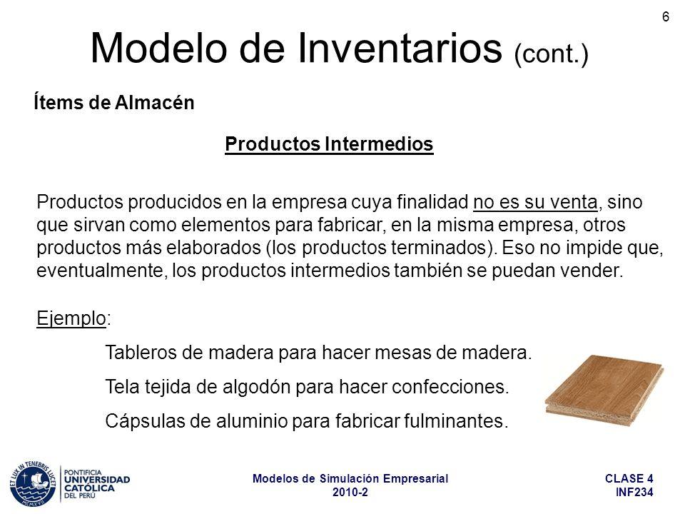 CLASE 4 INF234 Modelos de Simulación Empresarial 2010-2 6 Modelo de Inventarios (cont.) Ítems de Almacén Productos Intermedios Productos producidos en