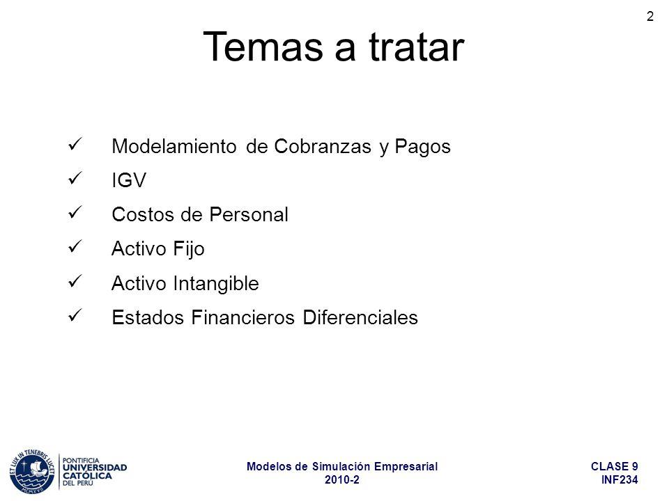 CLASE 9 INF234 Modelos de Simulación Empresarial 2010-2 2 Temas a tratar Modelamiento de Cobranzas y Pagos IGV Costos de Personal Activo Fijo Activo I