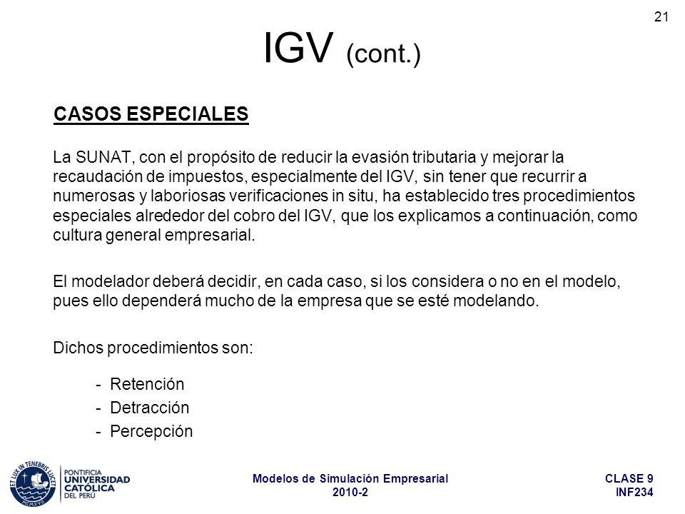 CLASE 9 INF234 Modelos de Simulación Empresarial 2010-2 21 La SUNAT, con el propósito de reducir la evasión tributaria y mejorar la recaudación de impuestos, especialmente del IGV, sin tener que recurrir a numerosas y laboriosas verificaciones in situ, ha establecido tres procedimientos especiales alrededor del cobro del IGV, que los explicamos a continuación, como cultura general empresarial.