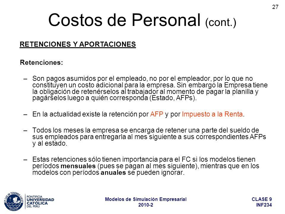 CLASE 9 INF234 Modelos de Simulación Empresarial 2010-2 27 Retenciones: –Son pagos asumidos por el empleado, no por el empleador, por lo que no constituyen un costo adicional para la empresa.