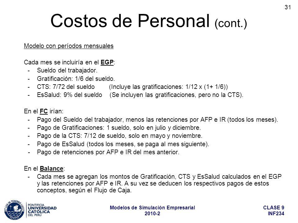 CLASE 9 INF234 Modelos de Simulación Empresarial 2010-2 31 Modelo con períodos mensuales Cada mes se incluiría en el EGP: -Sueldo del trabajador. -Gra