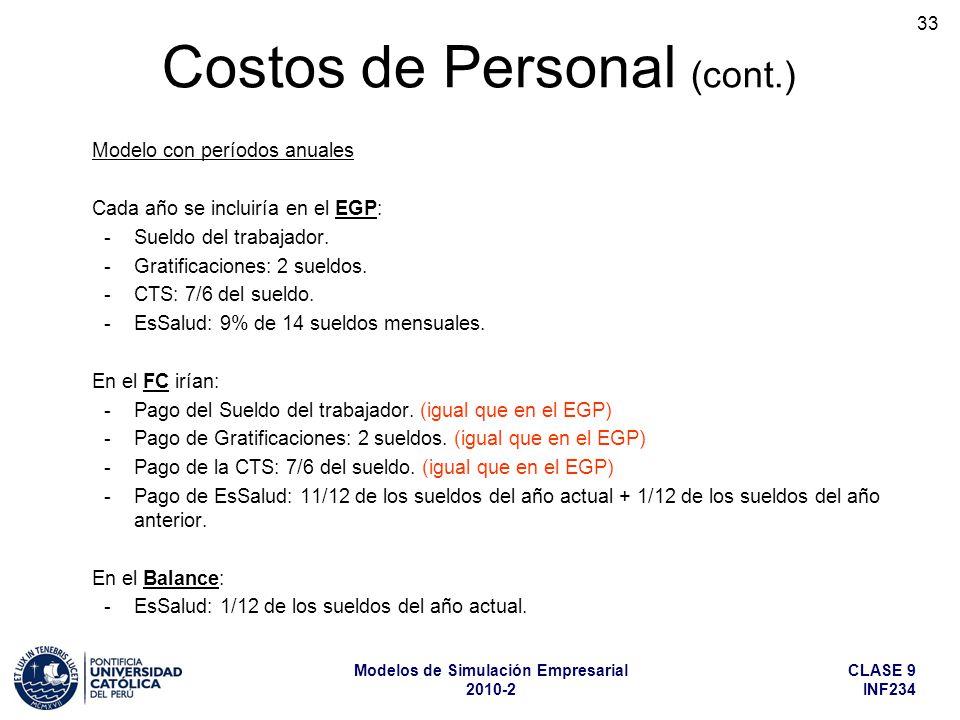 CLASE 9 INF234 Modelos de Simulación Empresarial 2010-2 33 Modelo con períodos anuales Cada año se incluiría en el EGP: -Sueldo del trabajador. -Grati