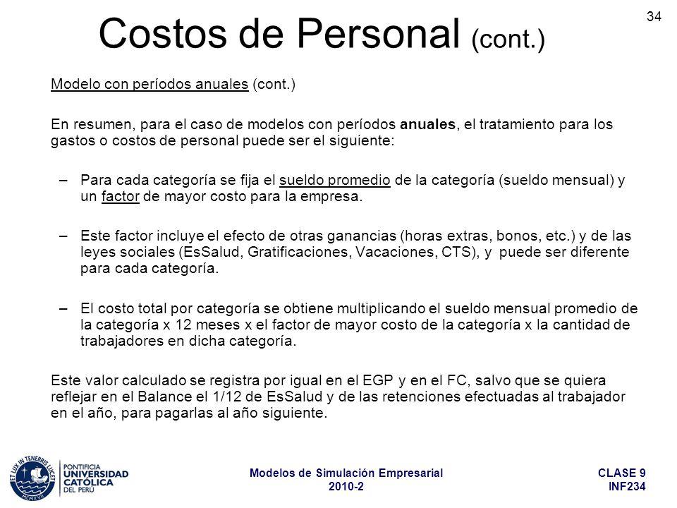 CLASE 9 INF234 Modelos de Simulación Empresarial 2010-2 34 Modelo con períodos anuales (cont.) En resumen, para el caso de modelos con períodos anuale