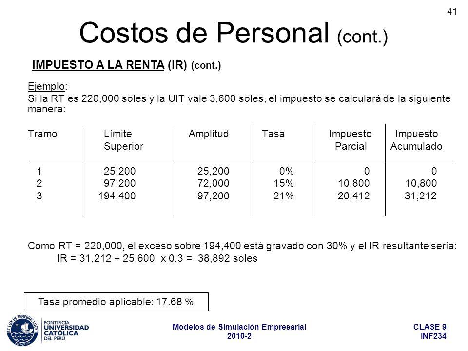 CLASE 9 INF234 Modelos de Simulación Empresarial 2010-2 41 Ejemplo: Si la RT es 220,000 soles y la UIT vale 3,600 soles, el impuesto se calculará de la siguiente manera: TramoLímite Amplitud Tasa Impuesto Impuesto Superior Parcial Acumulado 125,20025,200 0% 0 0 297,20072,000 15%10,800 10,800 3 194,40097,200 21%20,412 31,212 Como RT = 220,000, el exceso sobre 194,400 está gravado con 30% y el IR resultante sería: IR = 31,212 + 25,600 x 0.3 = 38,892 soles Costos de Personal (cont.) IMPUESTO A LA RENTA (IR) (cont.) Tasa promedio aplicable: 17.68 %