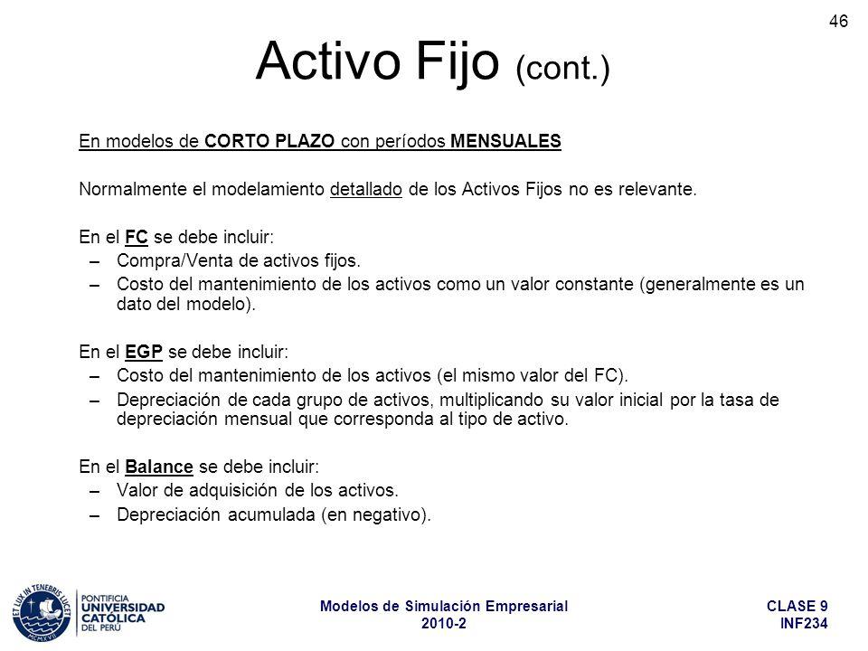 CLASE 9 INF234 Modelos de Simulación Empresarial 2010-2 46 En modelos de CORTO PLAZO con períodos MENSUALES Normalmente el modelamiento detallado de los Activos Fijos no es relevante.