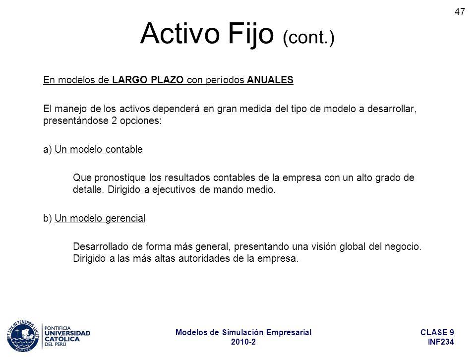 CLASE 9 INF234 Modelos de Simulación Empresarial 2010-2 47 En modelos de LARGO PLAZO con períodos ANUALES El manejo de los activos dependerá en gran medida del tipo de modelo a desarrollar, presentándose 2 opciones: a) Un modelo contable Que pronostique los resultados contables de la empresa con un alto grado de detalle.