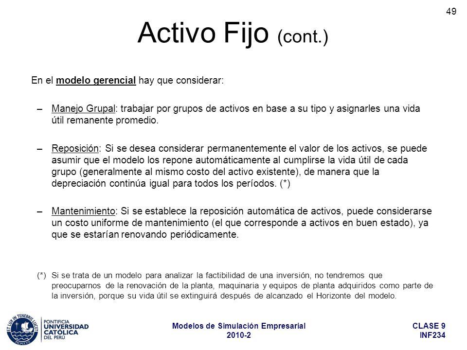 CLASE 9 INF234 Modelos de Simulación Empresarial 2010-2 49 En el modelo gerencial hay que considerar: –Manejo Grupal: trabajar por grupos de activos e