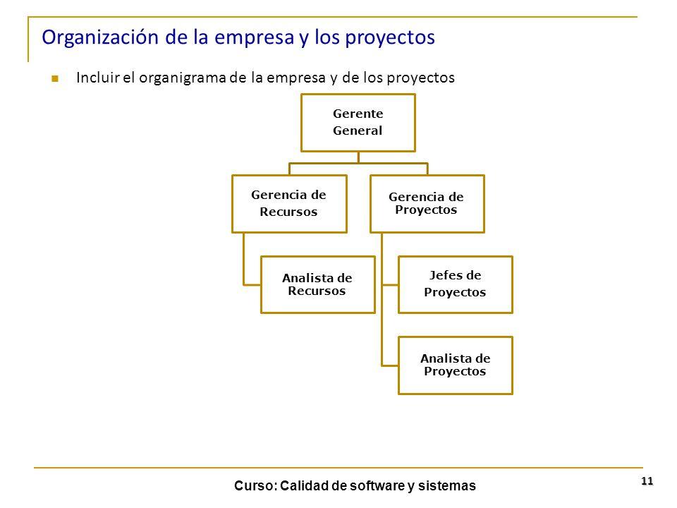 Curso: Calidad de software y sistemas 11 Incluir el organigrama de la empresa y de los proyectos Organización de la empresa y los proyectos Gerente Ge