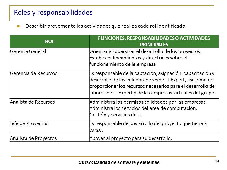 Curso: Calidad de software y sistemas 13 Describir brevemente las actividades que realiza cada rol identificado. Roles y responsabilidades ROL FUNCION
