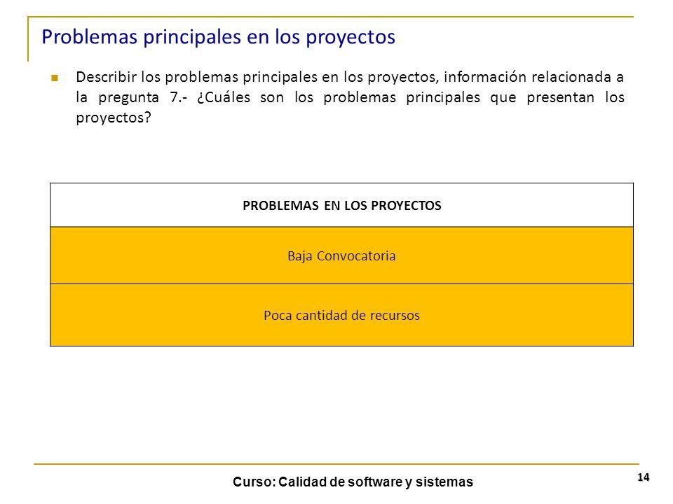 Curso: Calidad de software y sistemas 14 Describir los problemas principales en los proyectos, información relacionada a la pregunta 7.- ¿Cuáles son l