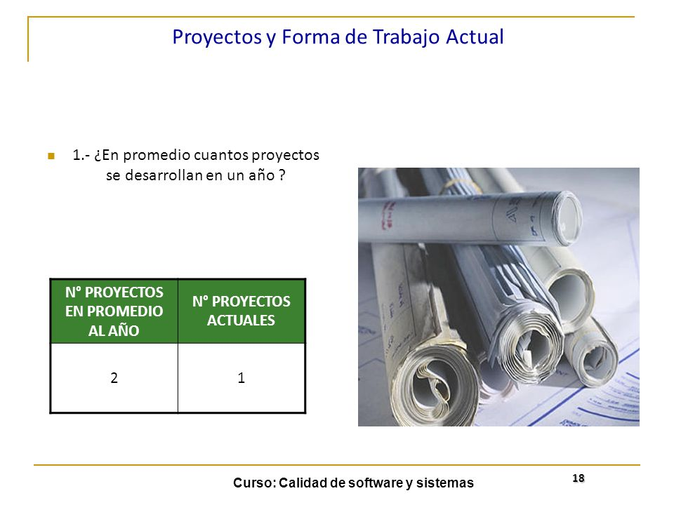 Curso: Calidad de software y sistemas 18 1.- ¿En promedio cuantos proyectos se desarrollan en un año ? Proyectos y Forma de Trabajo Actual N° PROYECTO