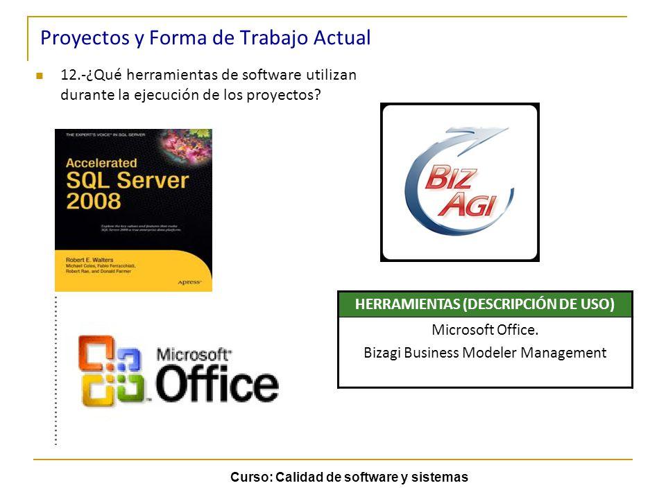 Curso: Calidad de software y sistemas Proyectos y Forma de Trabajo Actual 12.-¿Qué herramientas de software utilizan durante la ejecución de los proye