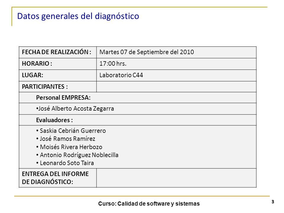 Curso: Calidad de software y sistemas 3 Datos generales del diagnóstico FECHA DE REALIZACIÓN :Martes 07 de Septiembre del 2010 HORARIO :17:00 hrs. LUG