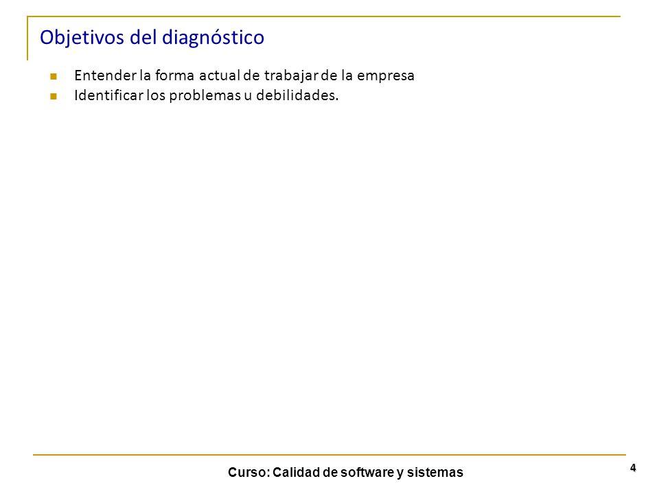 Curso: Calidad de software y sistemas 5 Objetivos del diagnóstico Explicar objetivos